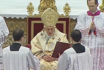 catholic pope benedict sitting on his throne
