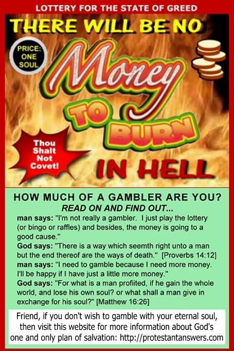 fake money to burn lottery ticket greed thou shalt not covet